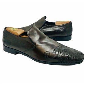 PRADA Dark Brown Embroidered Slip On Loafers 8 1/2